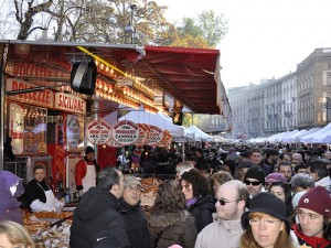 outdoor italian market at the castle in milan