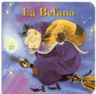 la befana riding on a broomstick