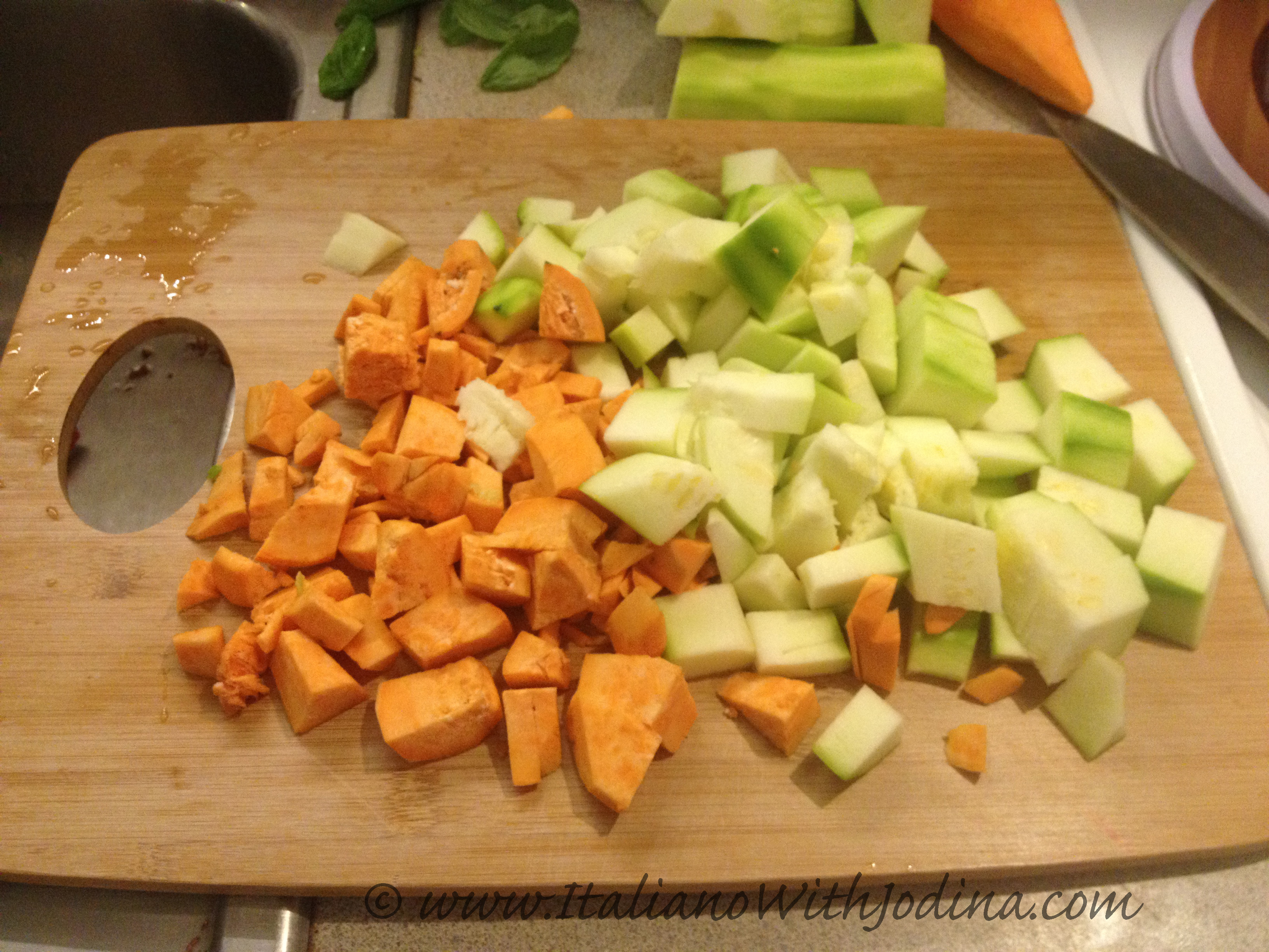 chopped zucchini and potato