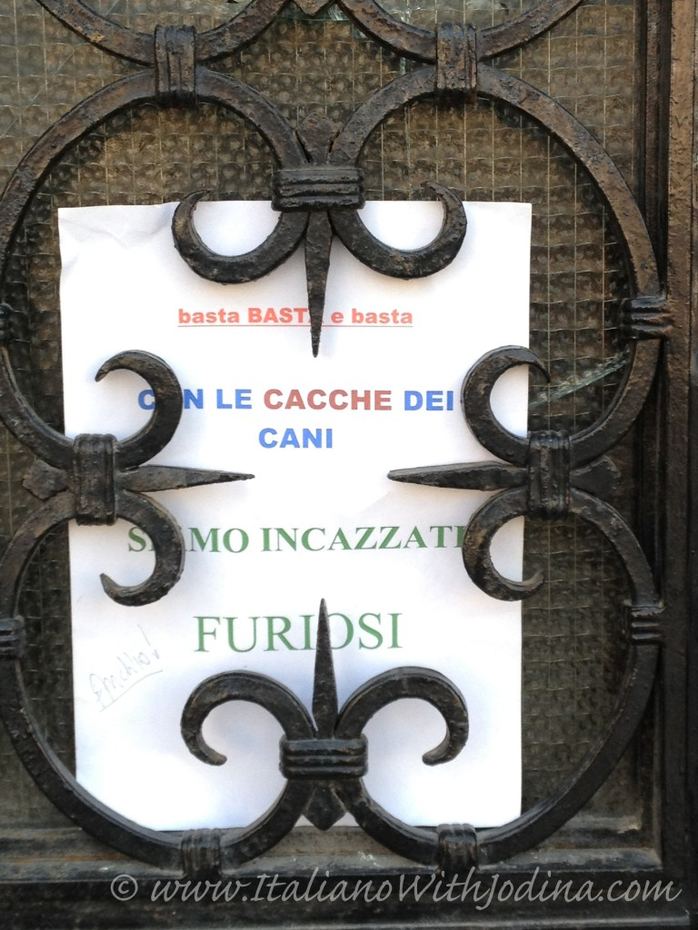 italian sign basta cacca dei - enough dog doo-doo