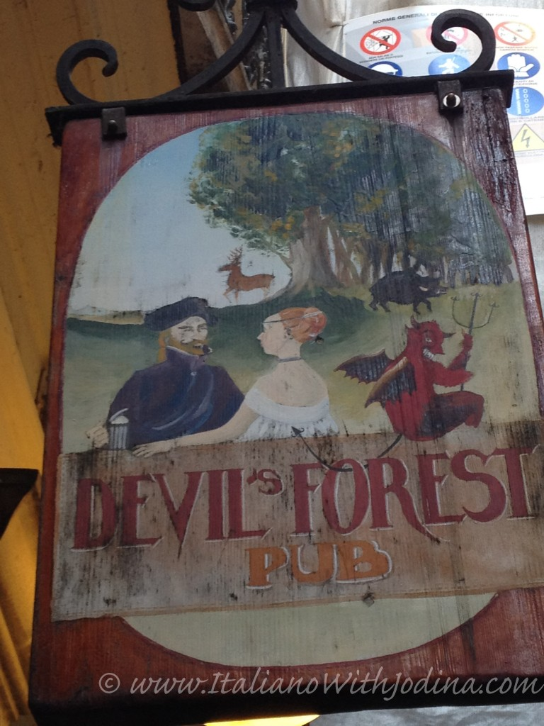 sign for the Devil's Forest Pub in Venice