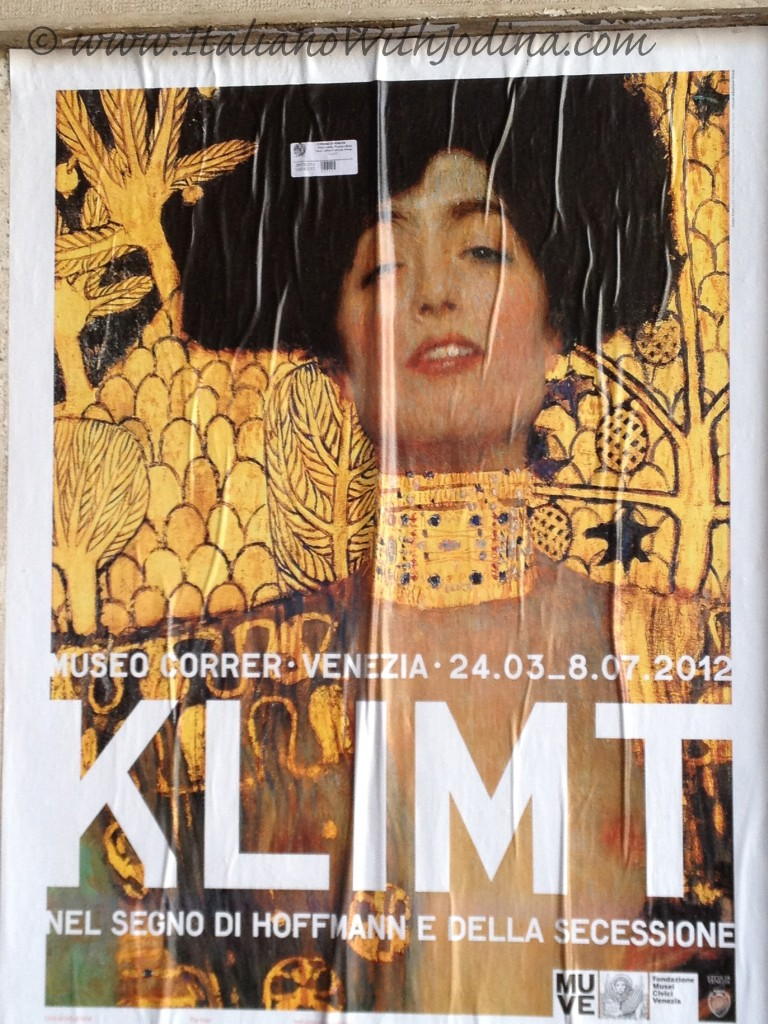 poster, sign for the klimt exhibition in venice