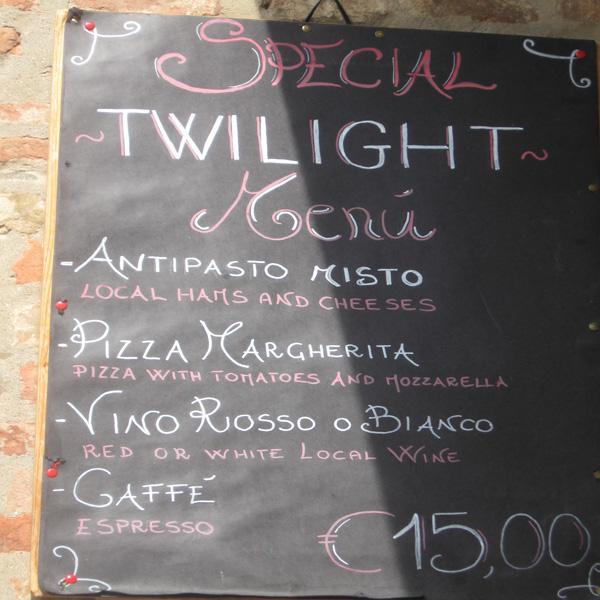 Twiligh tMenu Montepulciano italy