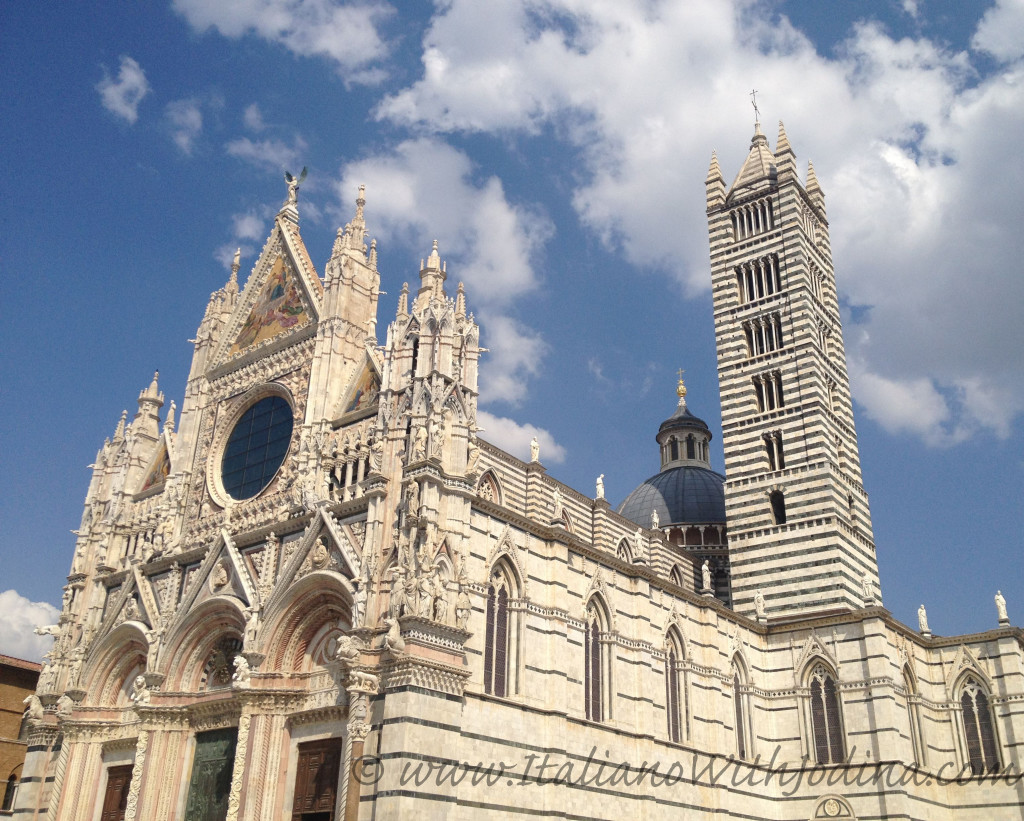 duomo of siena, italy, with view of bell tower and cupola