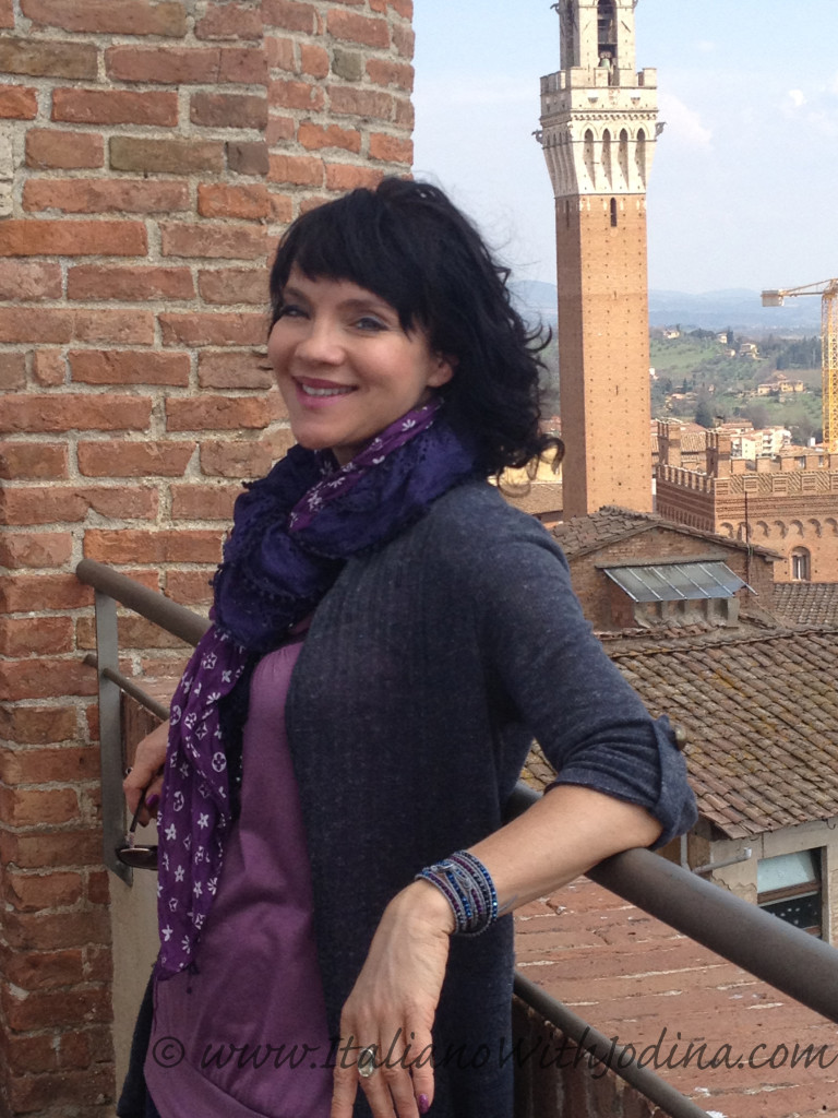 jodina in siena italy at top of panoramic terrace