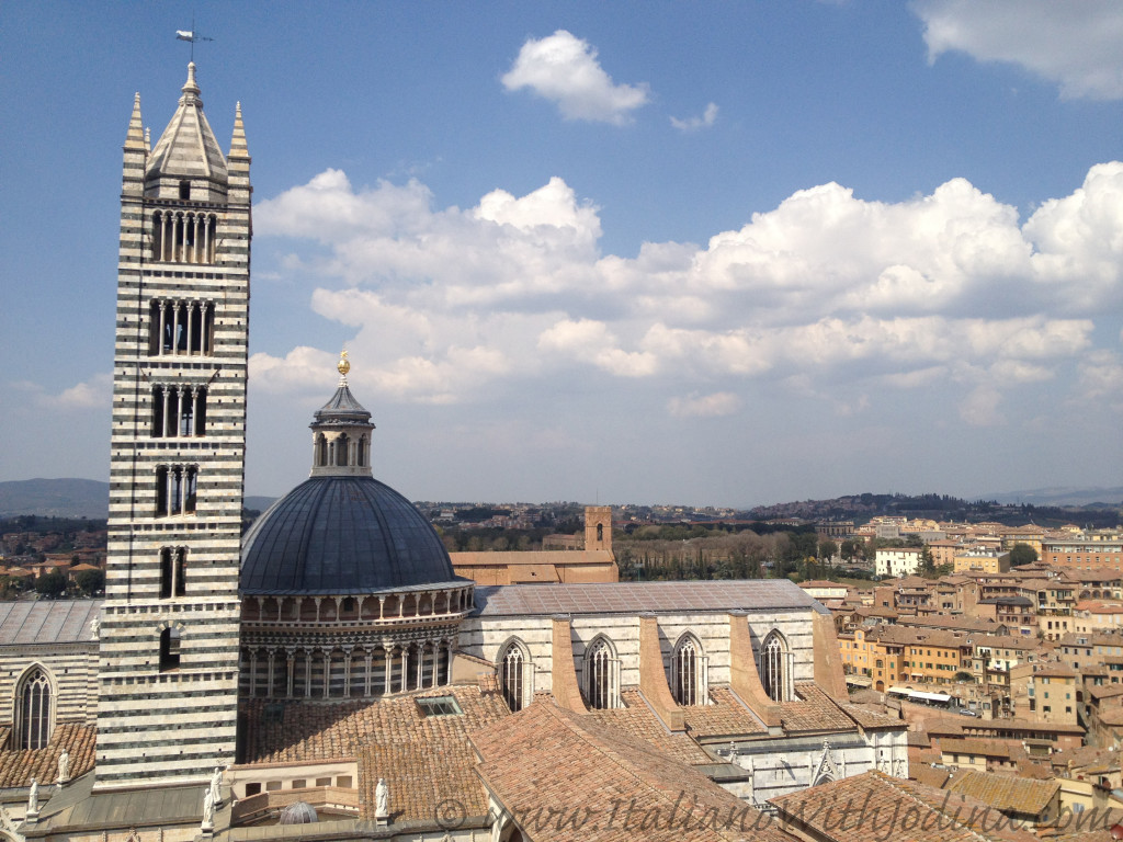 view from on high of siena duomo, bell tower, and cupora