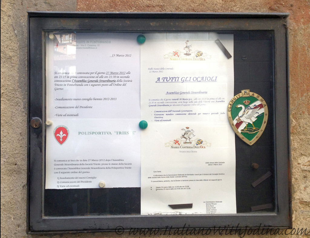 Bacheca ocaioli - community bulletin board Oca quarter siena italy jodina