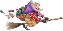 befana cartoon, on broom